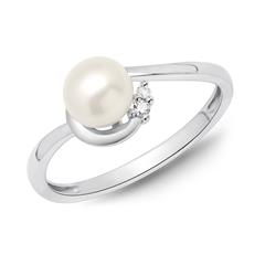 Ring 585er Weißgold Perle 2 Diamanten 0,025 ct.