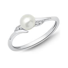 585er Weißgold-Ring Perle 4 Diamanten 0,032 ct.