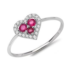 Ring 750er Weißgold Rubine Diamanten 0,09 ct.
