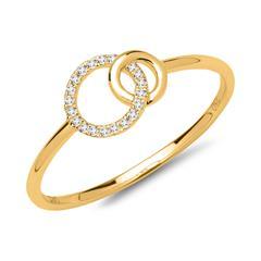 Damenring 750er Gelbgold 20 Diamanten 0,06 ct.