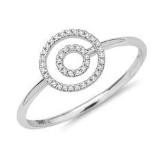 Ring 750er Weißgold Kreise Diamanten 0, 07 ct
