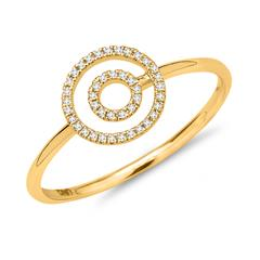 Ring 750er Gelbgold Kreise Diamanten 0,09 ct.