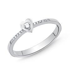 Damenring 585er Weißgold Diamant 0,086 ct.