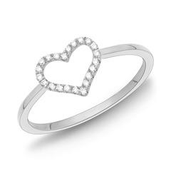 750er Weißgold-Ring Herz 22 Diamanten 0,11 ct.