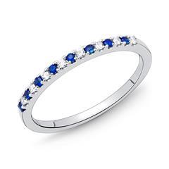 Weißgold-Ring 8 Diamanten 0,08 ct. 8 Saphire