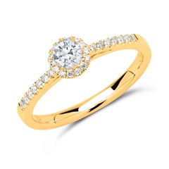 585er Gold Halo-Ring mit Diamanten