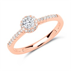 750er Roségold Halo-Ring mit Diamanten