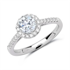 Halo Ring 950er Platin mit Diamanten