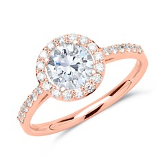 Halo Ring 585er Roségold mit Diamanten