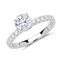 585er Weißgold Ring mit Brillanten