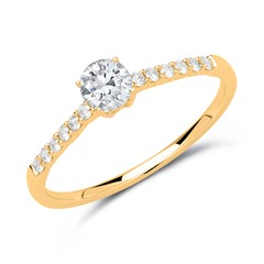 585er Gold Ring mit Diamanten