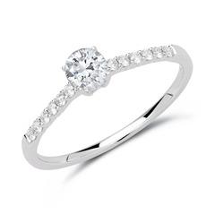 585er Weißgold Ring mit Diamanten
