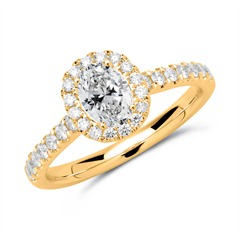 Halo Ring 585er Gold mit Brillanten