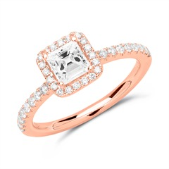 585er Roségold Halo Ring mit Diamanten