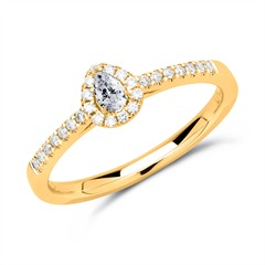 585er Gold Halo Ring Tropfen Diamanten