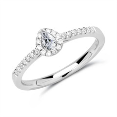 585er Weißgold Halo Ring Tropfen Diamanten