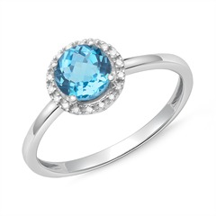 Halo-Ring 14K Weißgold 18 Diamanten Blautopas