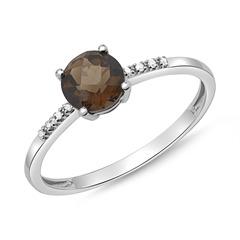 Ring Weißgold 14 Karat mit 8 Diamanten und Rauchquarz