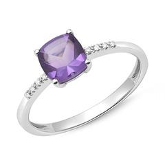 Amethyst Ring 585er Weißgold mit 8 Diamanten