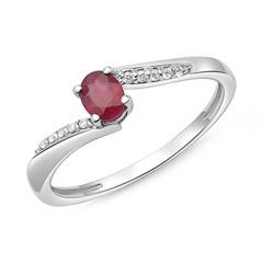 Nice: 585er Weißgold Ring Rubin 10 Diamanten