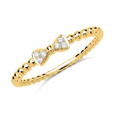 Ring 18K Gold Schleife 6 Diamanten