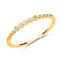 Memoire Ring 750er Gold 5 Diamanten