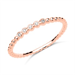 750er Roségold Memoire Ring 5 Diamanten