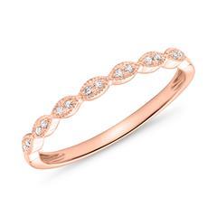 Ladies 14K Rose Gold Ring With Diamonds