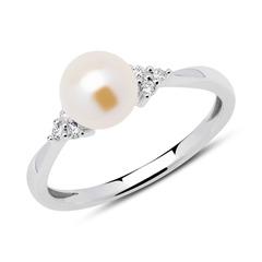 585er Weißgold Ring Diamanten Süßwasserperle