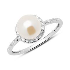 Ring 585er Weißgold Diamanten Süßwasserperle
