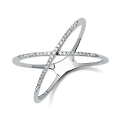 X-Ring aus 585er Weißgold mit Diamanten