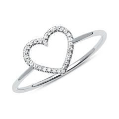 585er Goldring Herz mit Diamantbesatz