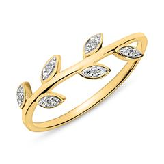 14K Goldring im Blattdesign mit Diamanten