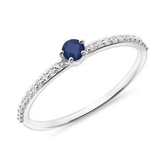 Sapphire ring in 585 white gold with white topazes