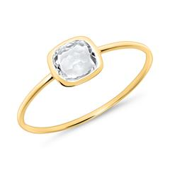 White topaz ring for ladies made of 585 gold