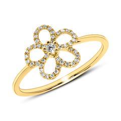 14K Goldring Blüte mit Diamanten