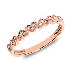 Ring Herzen aus 585er Roségold mit Diamanten