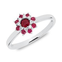 Ring Blüte aus 585er Weißgold mit Rubinen und Diamanten