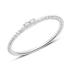 585er Weißgold Ring für Damen mit Diamanten