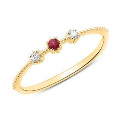 14K Gold Ring mit Diamanten und Rubin