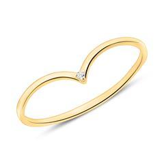 V-Ring für Damen aus 14K Gold mit Diamant