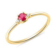 585er Goldring mit einem Rubin und Diamanten