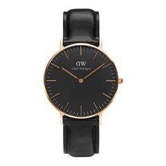 Uhr schwarzes Echtlederband