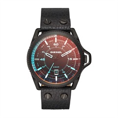 Herrenuhr Leder schwarz orange