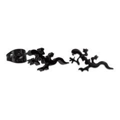 Schwarze Salamander Ohrstecker aus Edelstahl