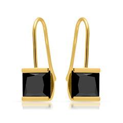 Vergoldete Edelstahlohrhänger schwarzer Zirkonia