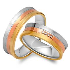Eheringe 585er Gold Tricolor 4 Diamanten
