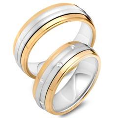 Eheringe 585er Gelb- Weissgold 10 Diamanten