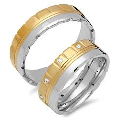 Trauringe 585er Gelb- Weissgold 10 Diamanten