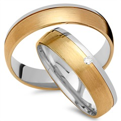Trauringe 585er Gelb- Weissgold mit Diamant